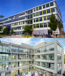 The Biotechnology (on the top) and DWI (on the bottom) buildings
