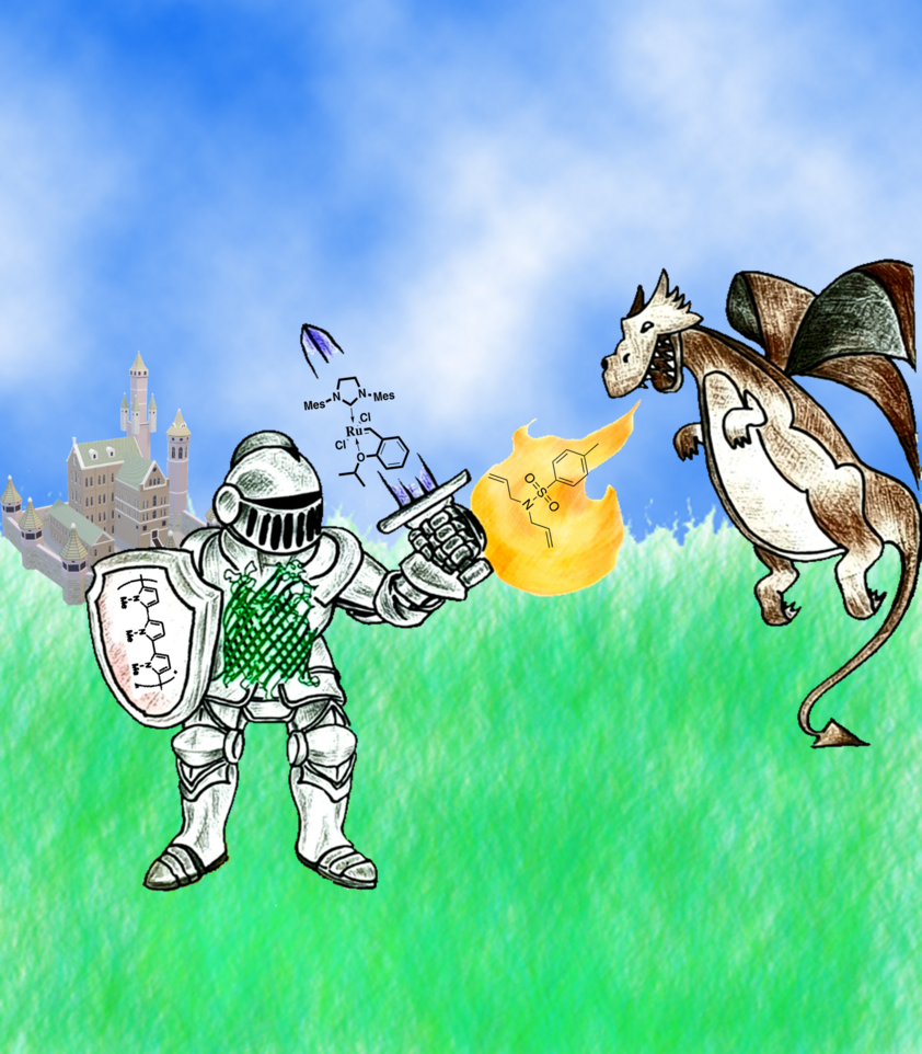 Knight fights against fire-breathing dragon.